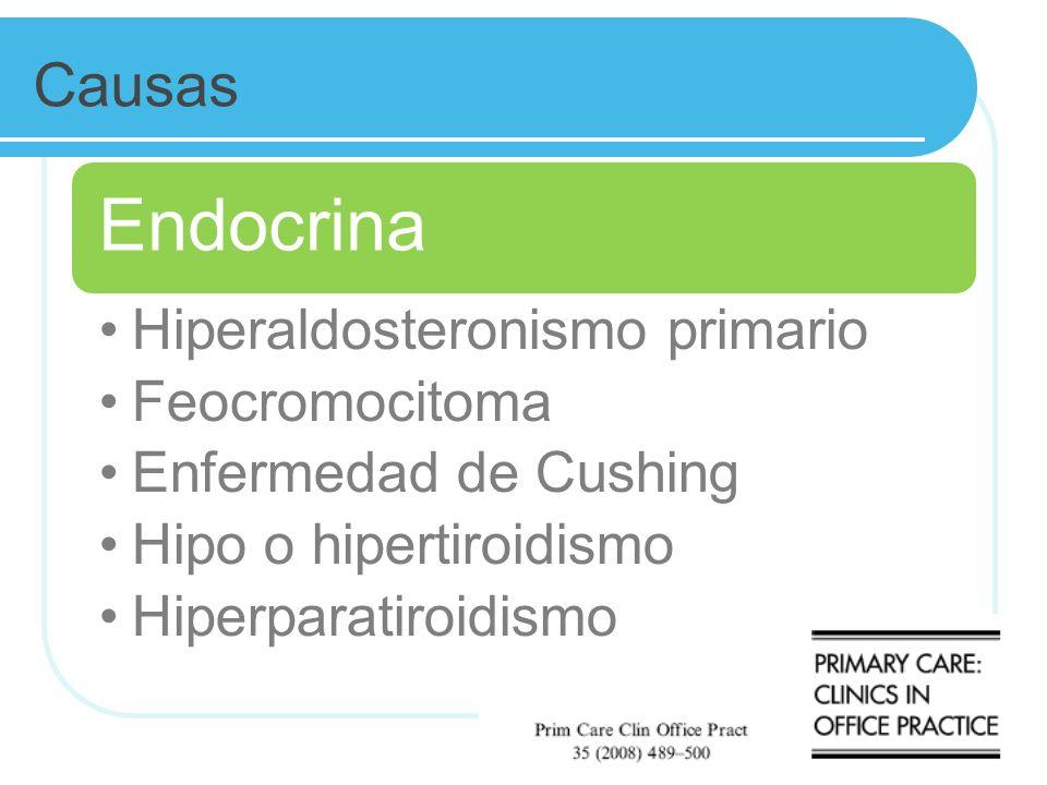 Causas Endocrina. Hiperaldosteronismo primario. Feocromocitoma. Enfermedad de Cushing. Hipo o hipertiroidismo.