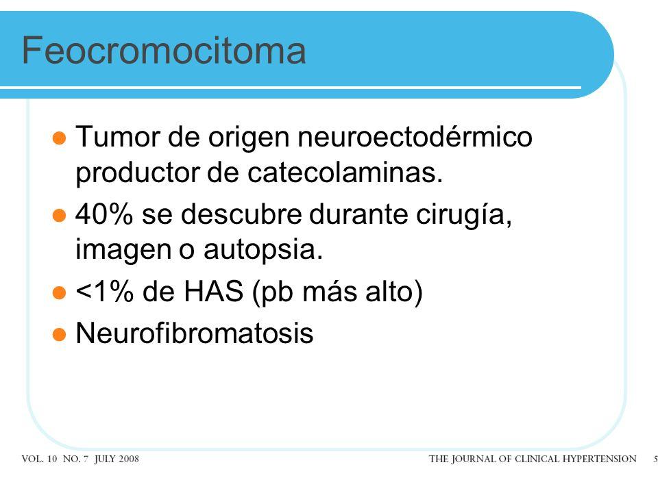 Feocromocitoma Tumor de origen neuroectodérmico productor de catecolaminas. 40% se descubre durante cirugía, imagen o autopsia.