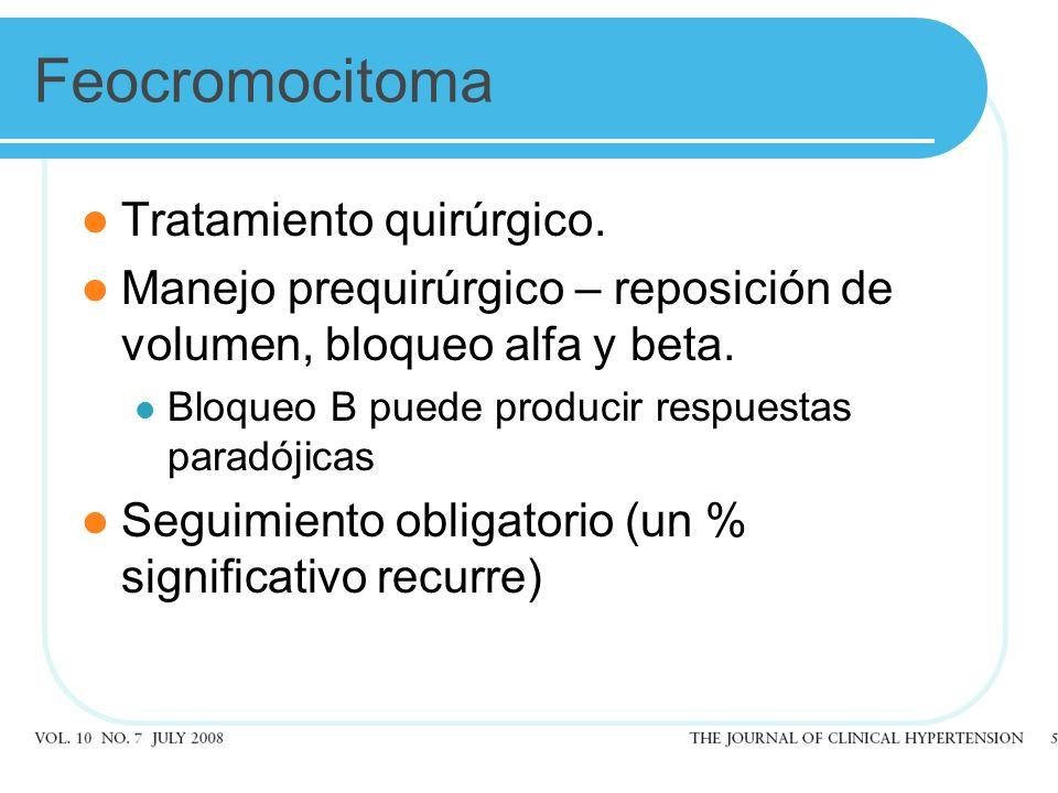 Feocromocitoma Tratamiento quirúrgico.
