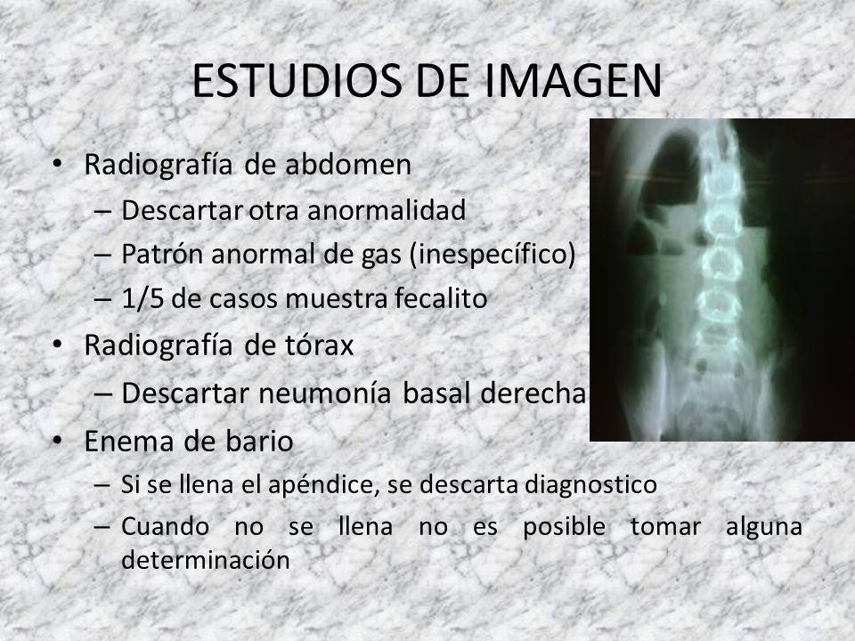 ESTUDIOS DE IMAGEN Radiografía de abdomen Radiografía de tórax