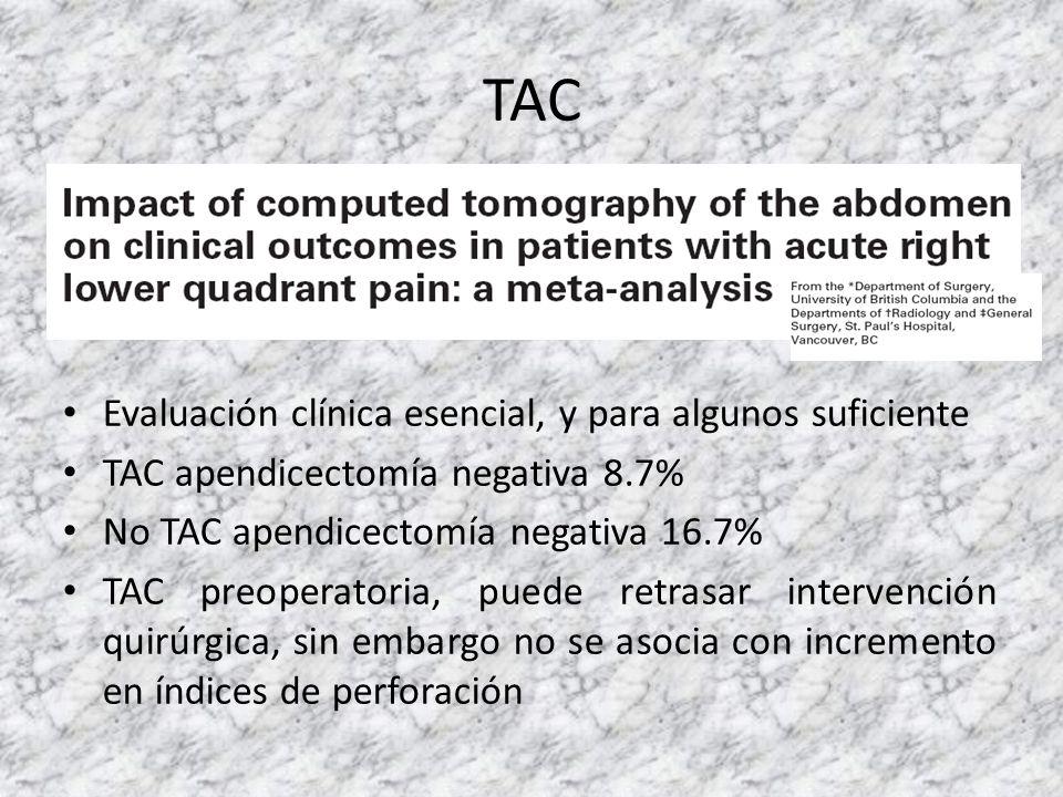 TAC Evaluación clínica esencial, y para algunos suficiente