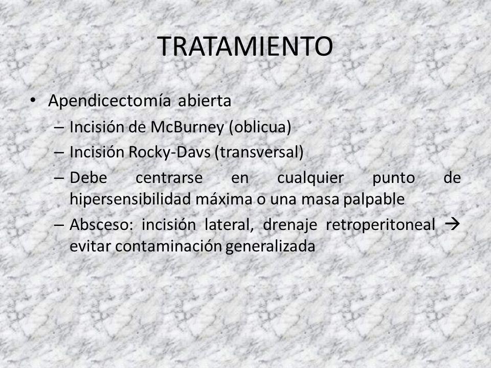 TRATAMIENTO Apendicectomía abierta Incisión de McBurney (oblicua)