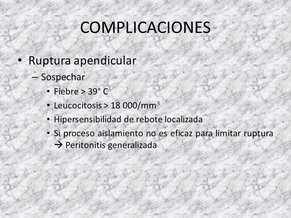 COMPLICACIONES Ruptura apendicular Sospechar Fiebre > 39° C