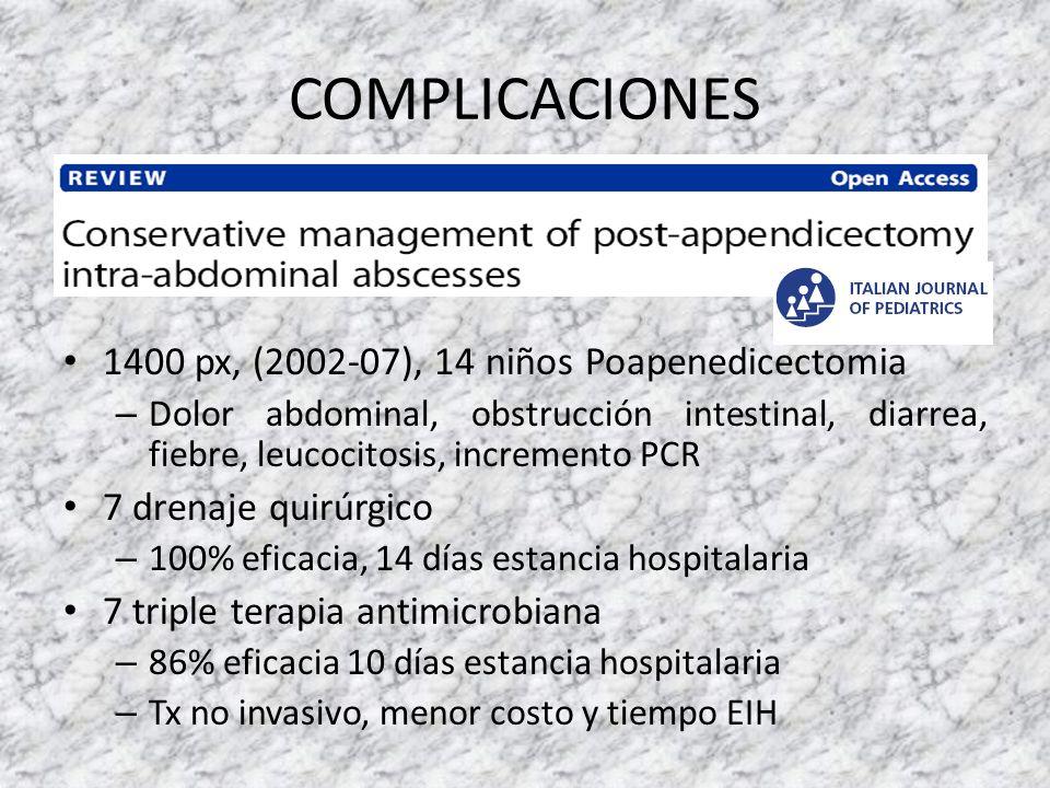COMPLICACIONES 1400 px, (2002-07), 14 niños Poapenedicectomia