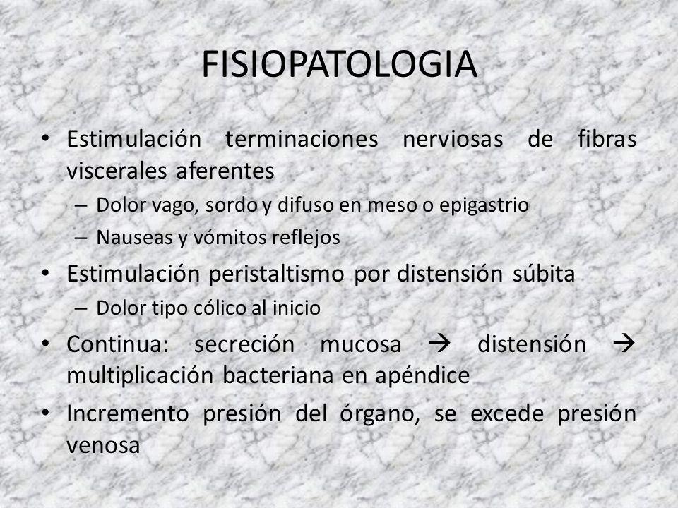 FISIOPATOLOGIA Estimulación terminaciones nerviosas de fibras viscerales aferentes. Dolor vago, sordo y difuso en meso o epigastrio.