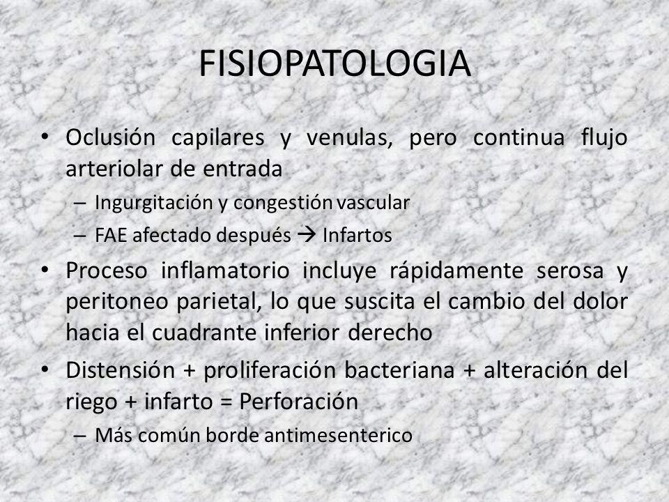 FISIOPATOLOGIA Oclusión capilares y venulas, pero continua flujo arteriolar de entrada. Ingurgitación y congestión vascular.