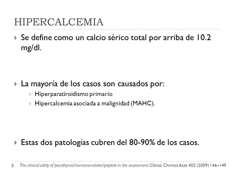 HIPERCALCEMIA Se define como un calcio sérico total por arriba de 10.2 mg/dl. La mayoría de los casos son causados por: