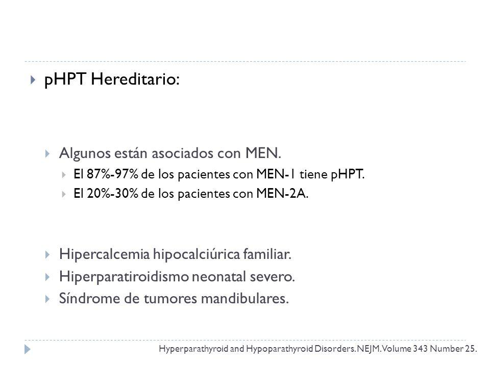 pHPT Hereditario: Algunos están asociados con MEN.