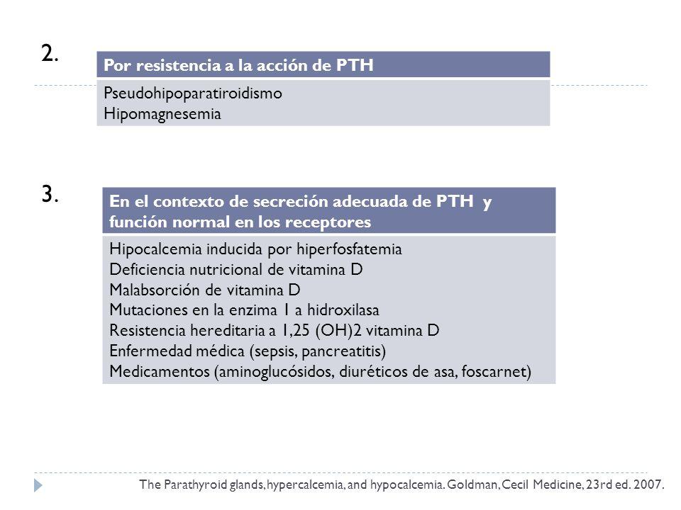 2. 3. Por resistencia a la acción de PTH Pseudohipoparatiroidismo