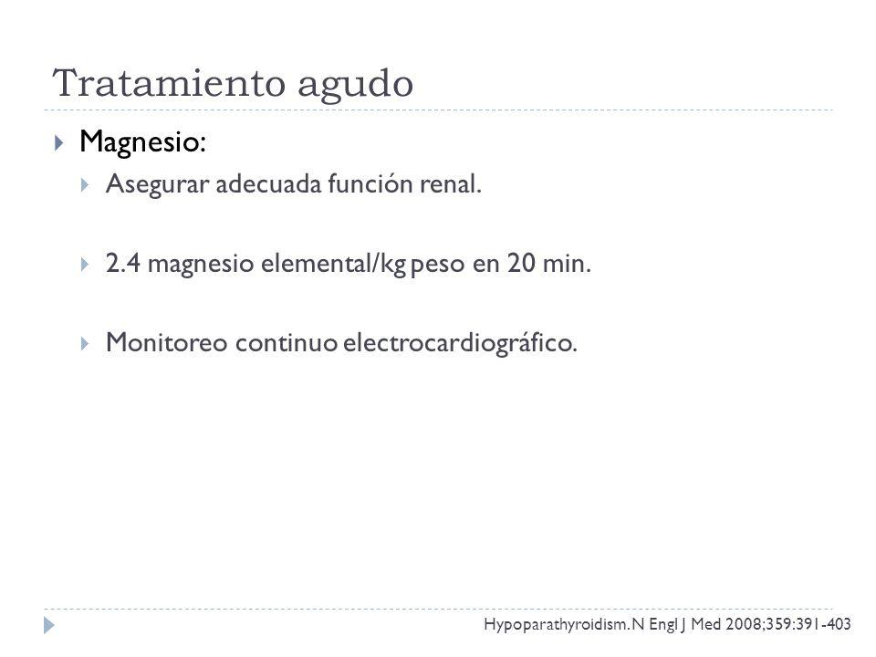 Tratamiento agudo Magnesio: Asegurar adecuada función renal.