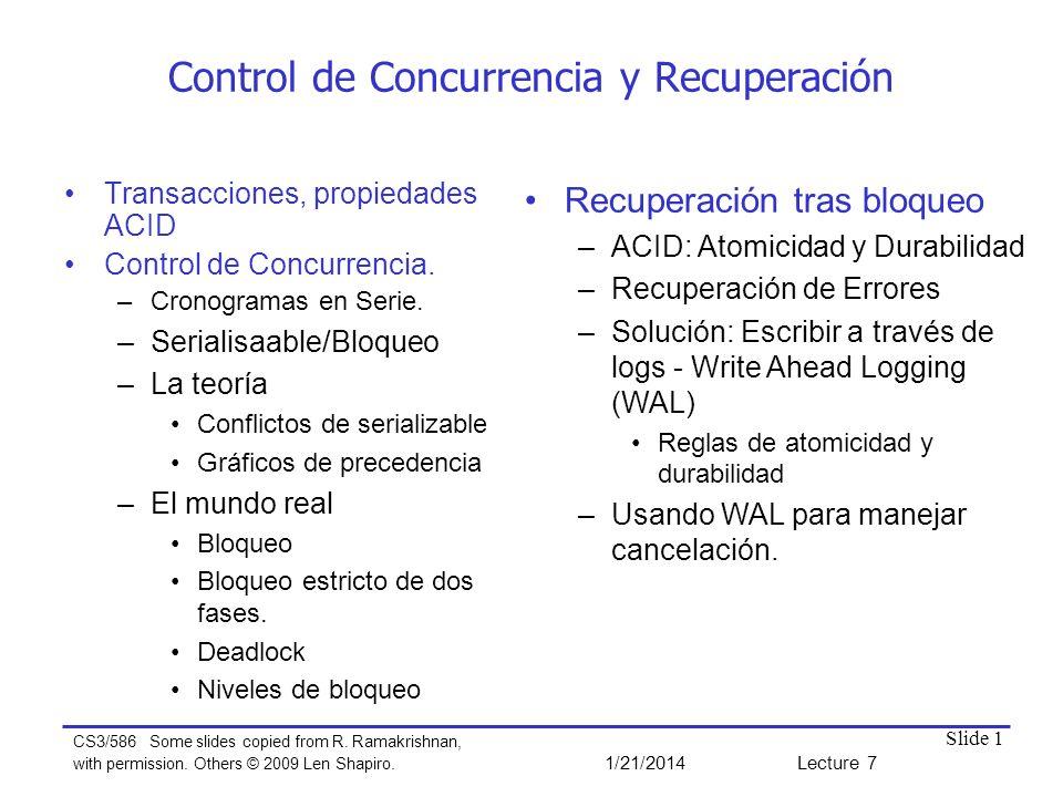 Control de Concurrencia y Recuperación