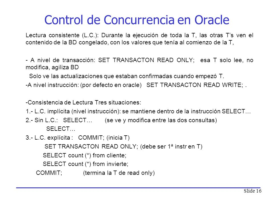 Control de Concurrencia en Oracle