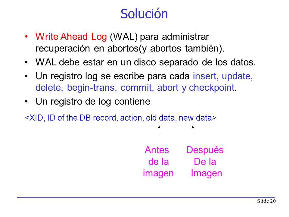 Solución Write Ahead Log (WAL) para administrar recuperación en abortos(y abortos también). WAL debe estar en un disco separado de los datos.