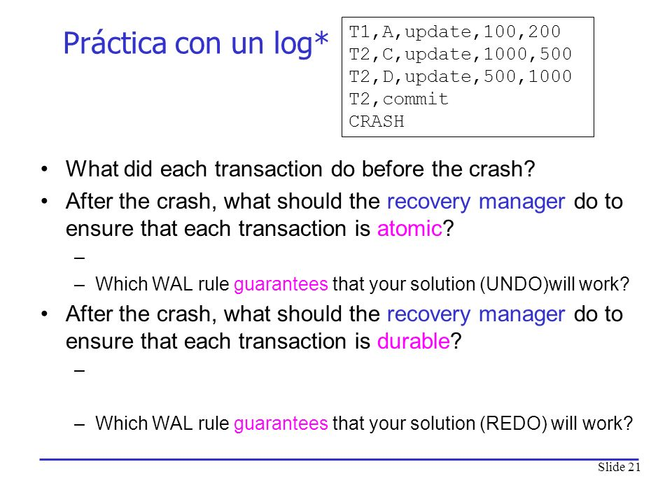 Práctica con un log* What did each transaction do before the crash