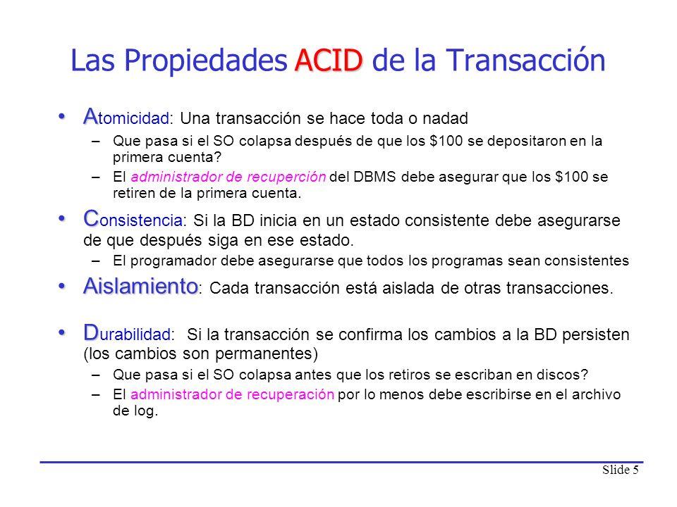 Las Propiedades ACID de la Transacción