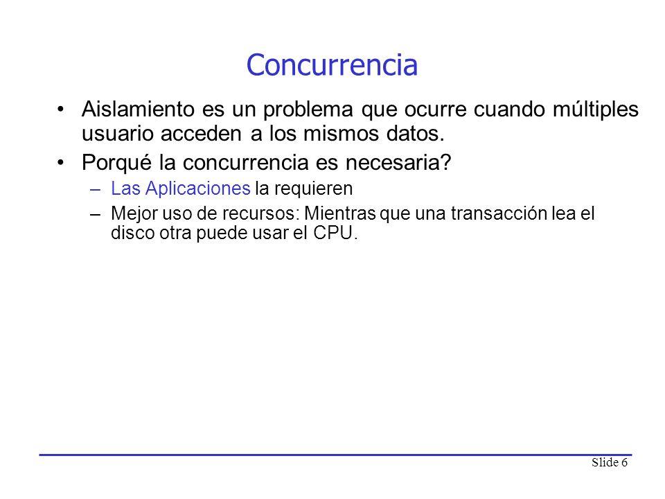 Concurrencia Aislamiento es un problema que ocurre cuando múltiples usuario acceden a los mismos datos.
