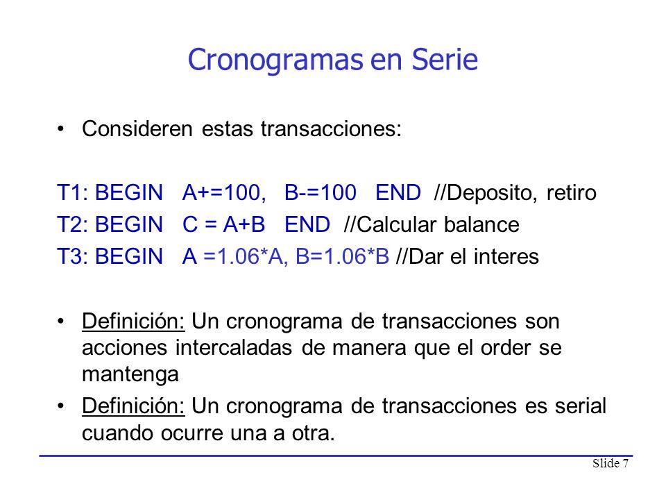 Cronogramas en Serie Consideren estas transacciones: