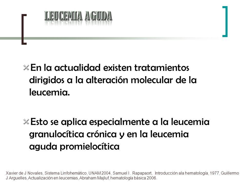 LEUCEMIA AGUDA En la actualidad existen tratamientos dirigidos a la alteración molecular de la leucemia.