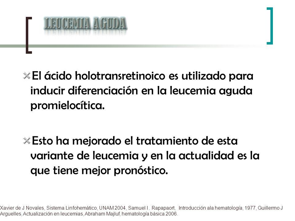 LEUCEMIA AGUDA El ácido holotransretinoico es utilizado para inducir diferenciación en la leucemia aguda promielocítica.