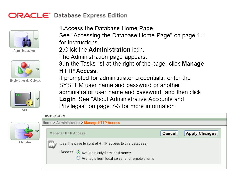 1.Access the Database Home Page.