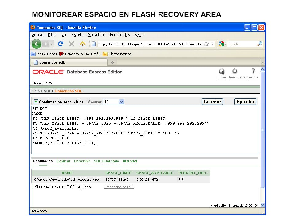 MONITOREAR ESPACIO EN FLASH RECOVERY AREA