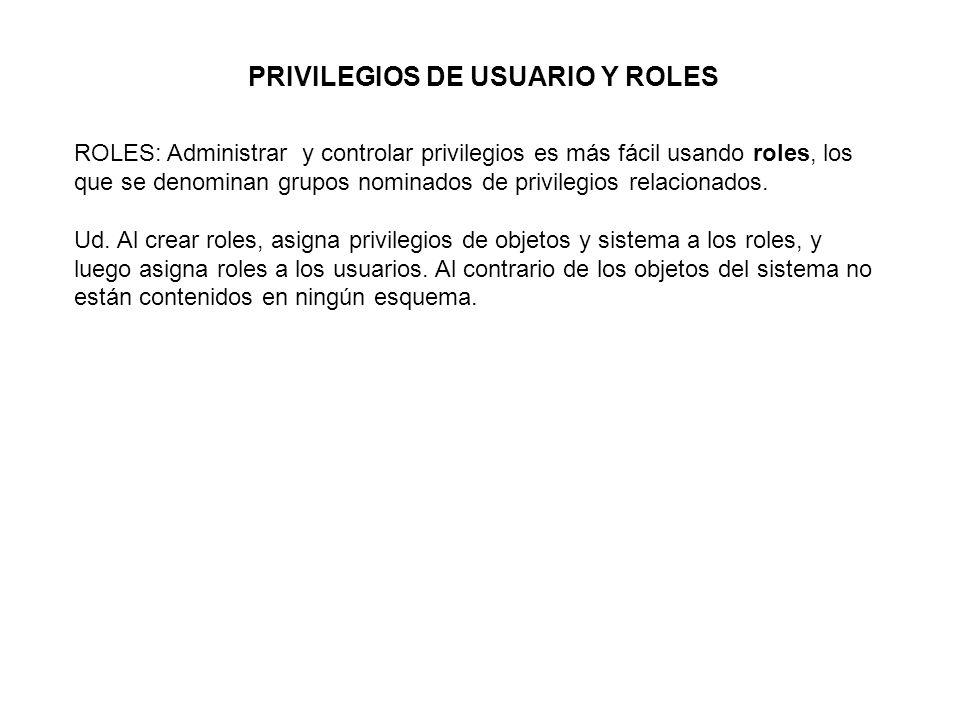 PRIVILEGIOS DE USUARIO Y ROLES