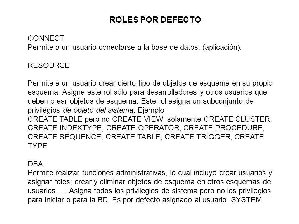 ROLES POR DEFECTO CONNECT