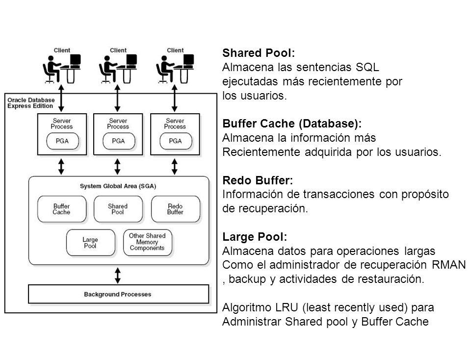 Shared Pool: Almacena las sentencias SQL. ejecutadas más recientemente por. los usuarios. Buffer Cache (Database):