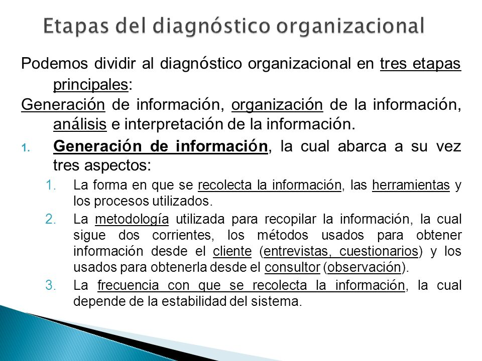 Etapas del diagnóstico organizacional