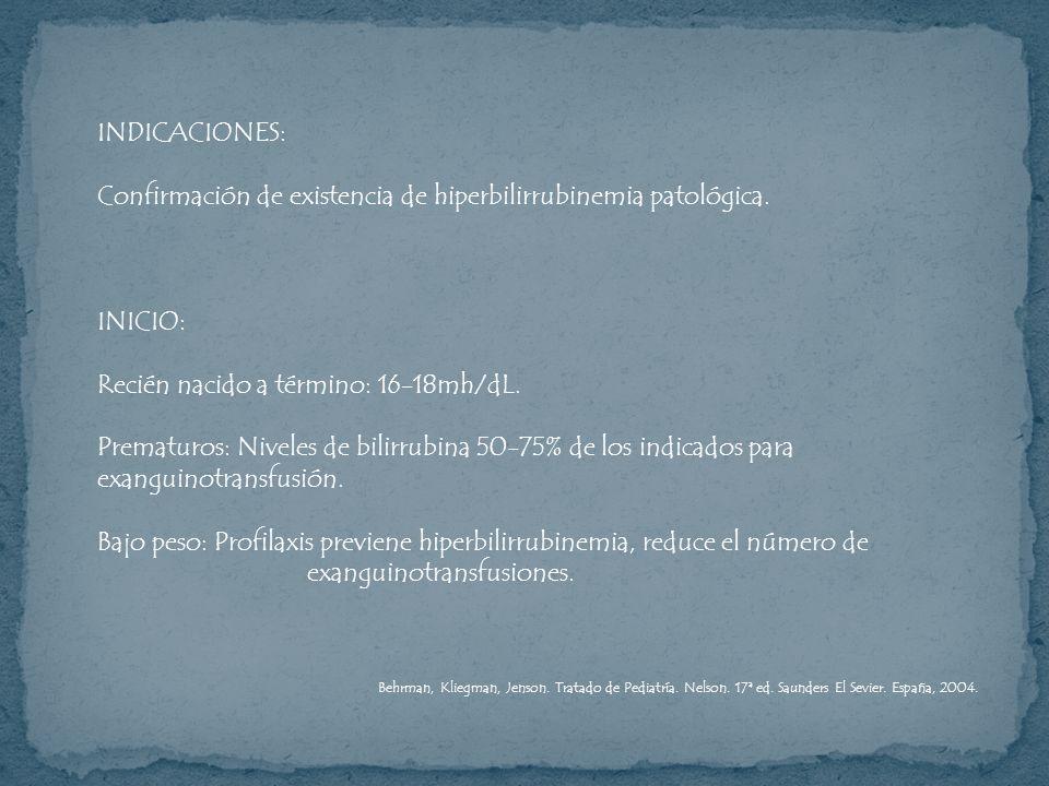 Confirmación de existencia de hiperbilirrubinemia patológica.