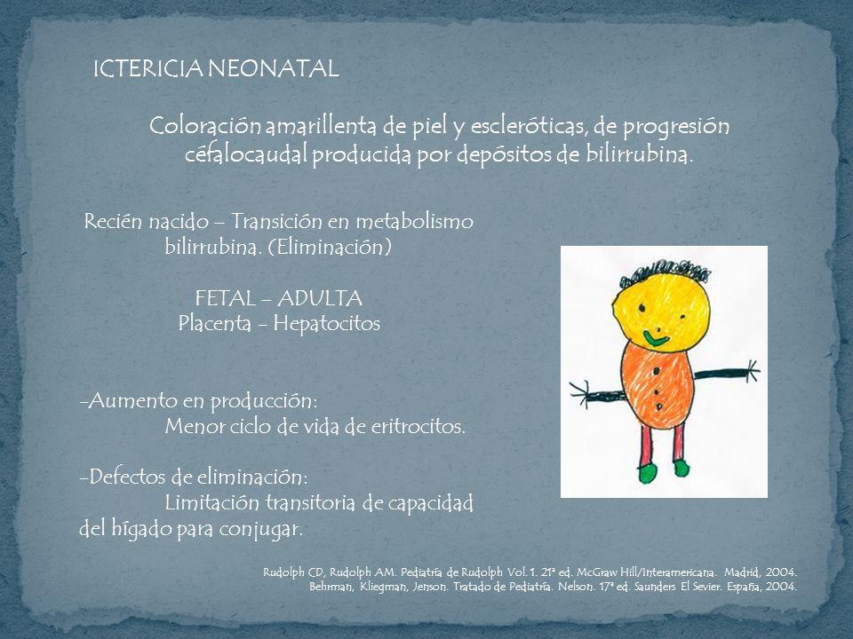 ICTERICIA NEONATALColoración amarillenta de piel y escleróticas, de progresión céfalocaudal producida por depósitos de bilirrubina.