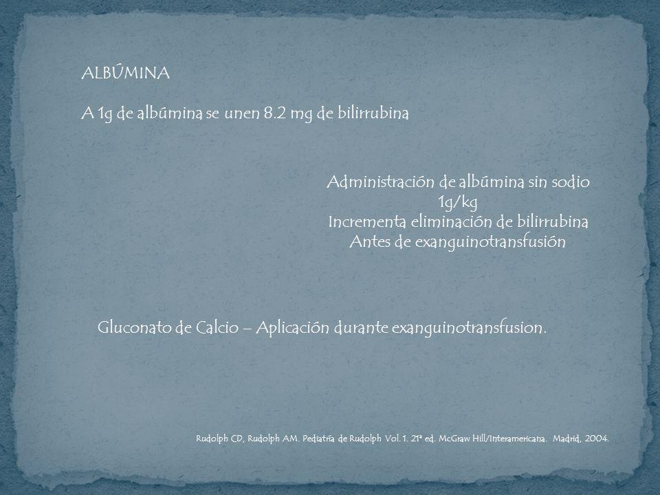 A 1g de albúmina se unen 8.2 mg de bilirrubina