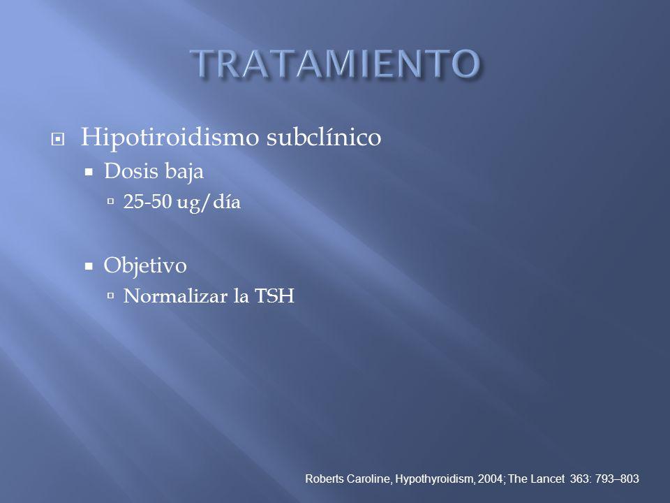 TRATAMIENTO Hipotiroidismo subclínico Dosis baja Objetivo 25-50 ug/día