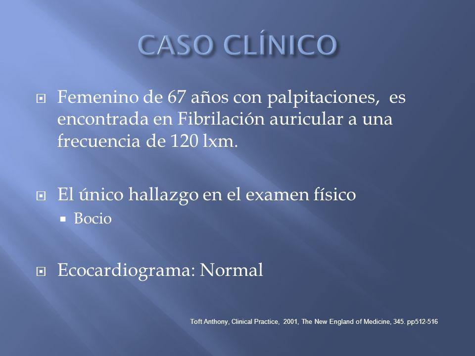 CASO CLÍNICOFemenino de 67 años con palpitaciones, es encontrada en Fibrilación auricular a una frecuencia de 120 lxm.
