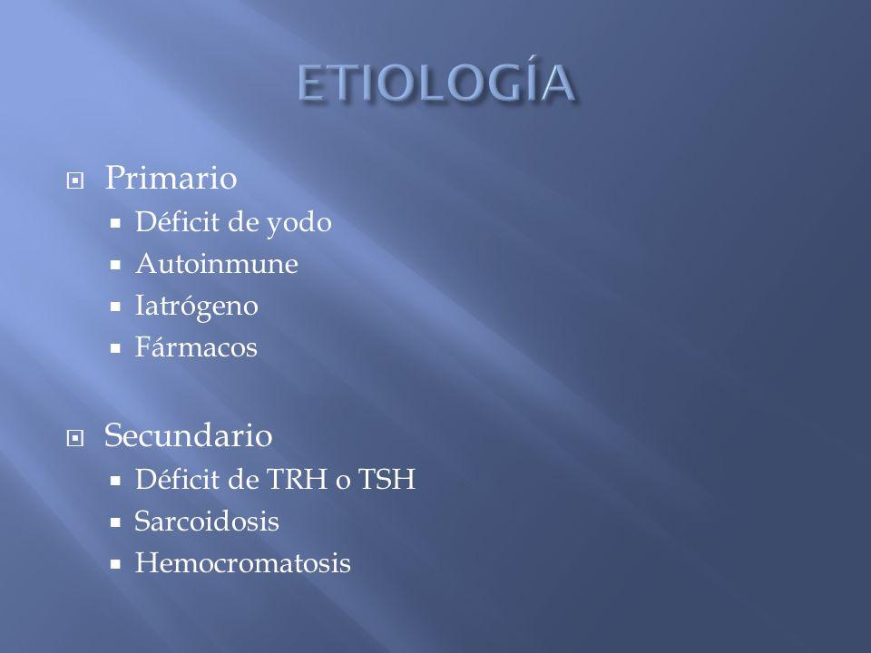 ETIOLOGÍA Primario Secundario Déficit de yodo Autoinmune Iatrógeno