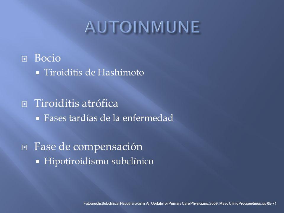 AUTOINMUNE Bocio Tiroiditis atrófica Fase de compensación