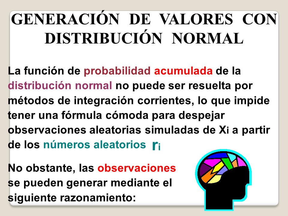 GENERACIÓN DE VALORES CON DISTRIBUCIÓN NORMAL
