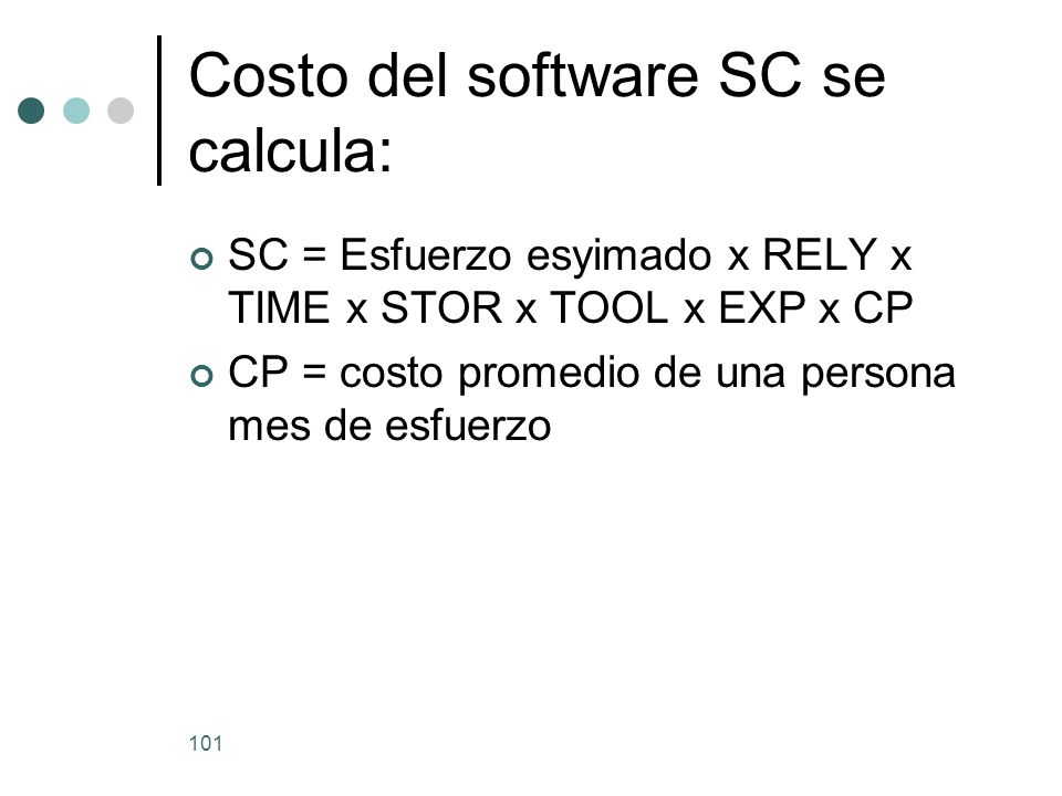 Costo del software SC se calcula: