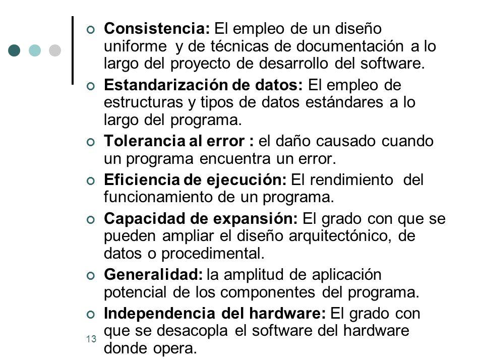 Consistencia: El empleo de un diseño uniforme y de técnicas de documentación a lo largo del proyecto de desarrollo del software.