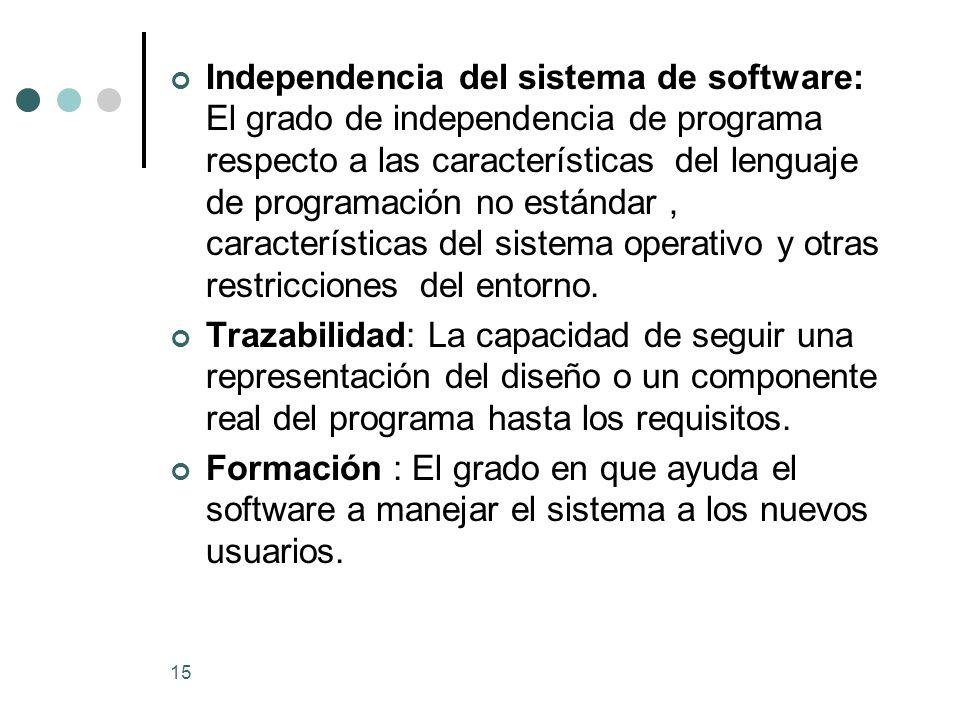 Independencia del sistema de software: El grado de independencia de programa respecto a las características del lenguaje de programación no estándar , características del sistema operativo y otras restricciones del entorno.