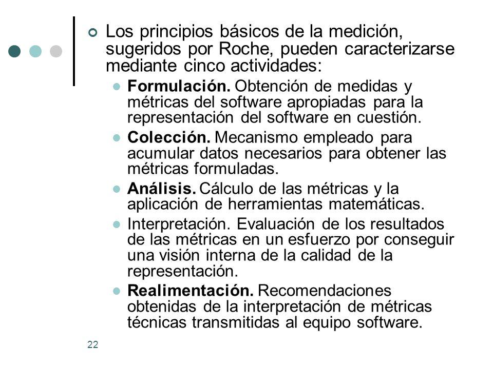 Los principios básicos de la medición, sugeridos por Roche, pueden caracterizarse mediante cinco actividades: