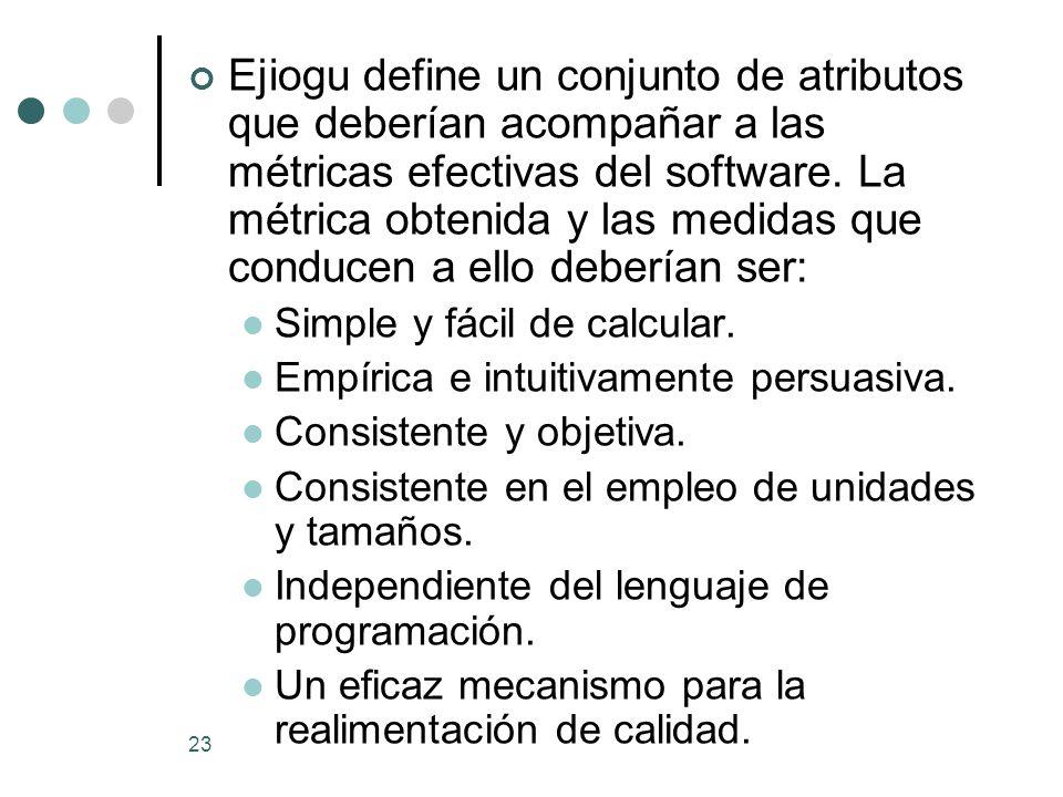 Ejiogu define un conjunto de atributos que deberían acompañar a las métricas efectivas del software. La métrica obtenida y las medidas que conducen a ello deberían ser: