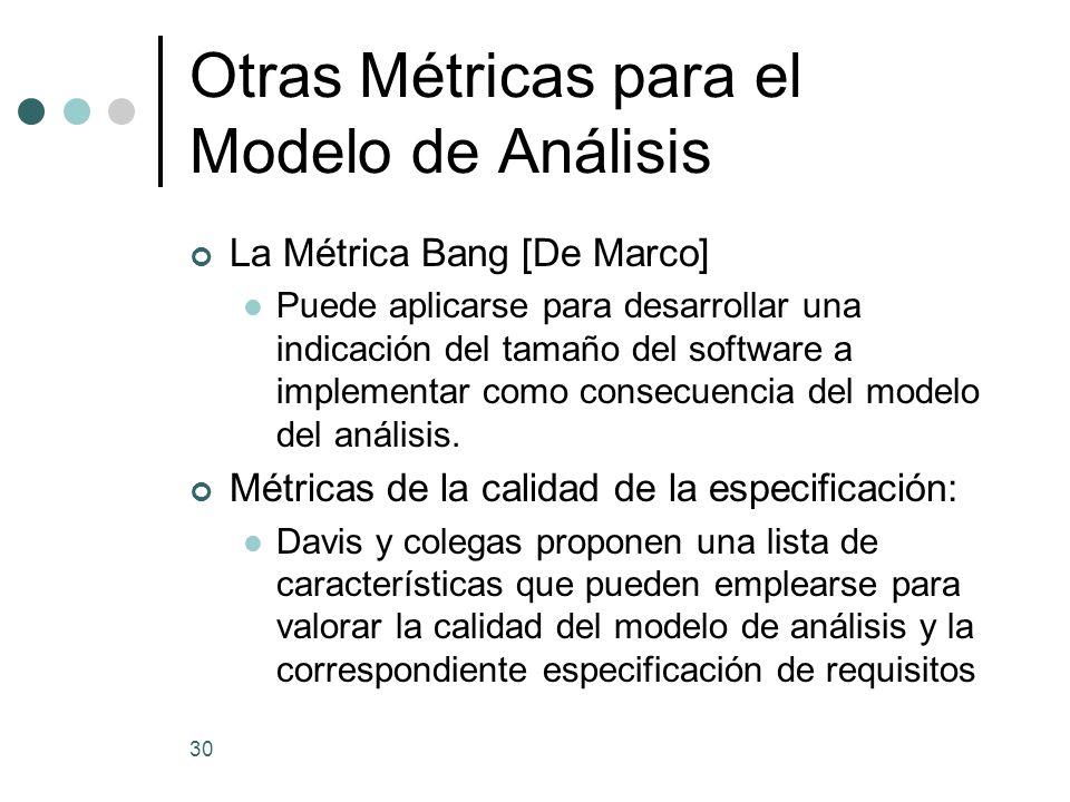 Otras Métricas para el Modelo de Análisis