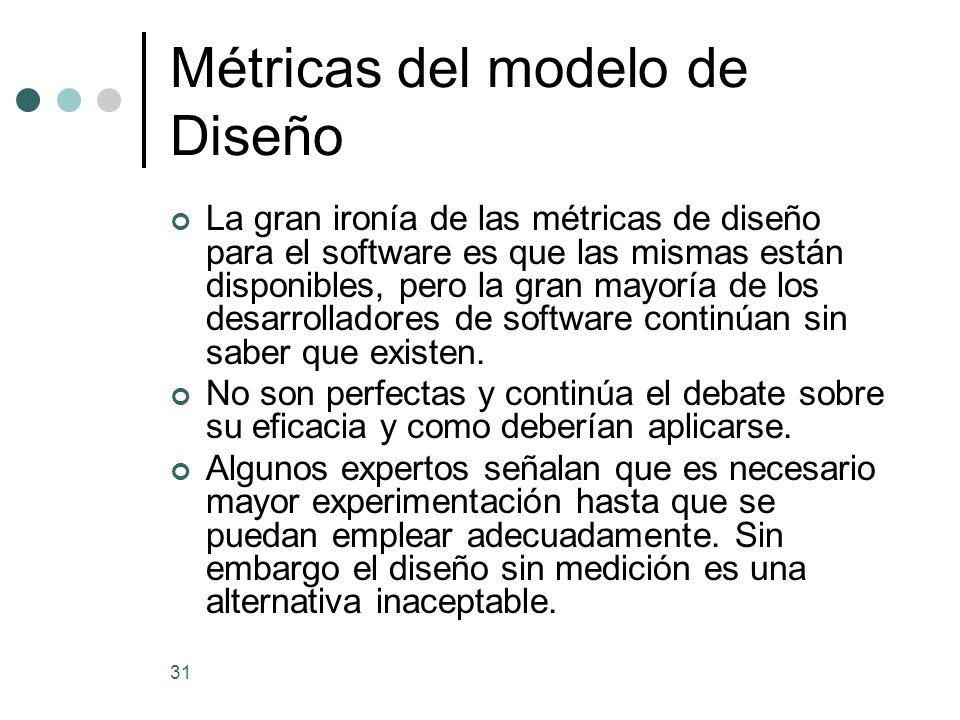 Métricas del modelo de Diseño