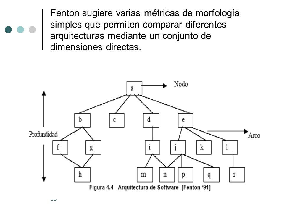 Fenton sugiere varias métricas de morfología simples que permiten comparar diferentes arquitecturas mediante un conjunto de dimensiones directas.
