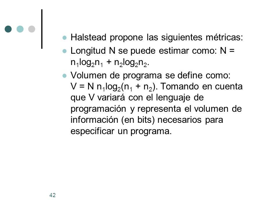 Halstead propone las siguientes métricas: