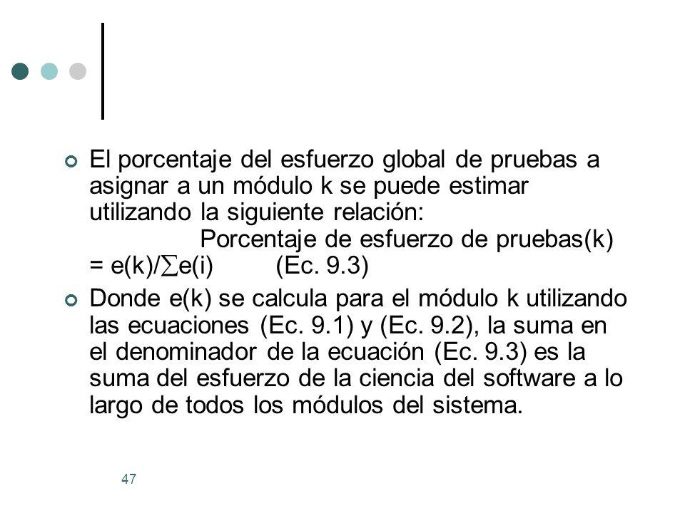 El porcentaje del esfuerzo global de pruebas a asignar a un módulo k se puede estimar utilizando la siguiente relación: Porcentaje de esfuerzo de pruebas(k) = e(k)/e(i) (Ec. 9.3)