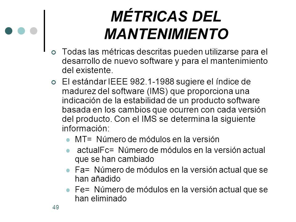 MÉTRICAS DEL MANTENIMIENTO