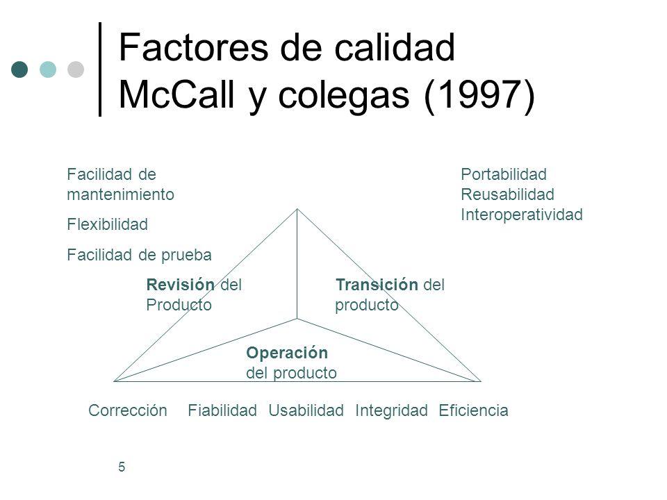 Factores de calidad McCall y colegas (1997)