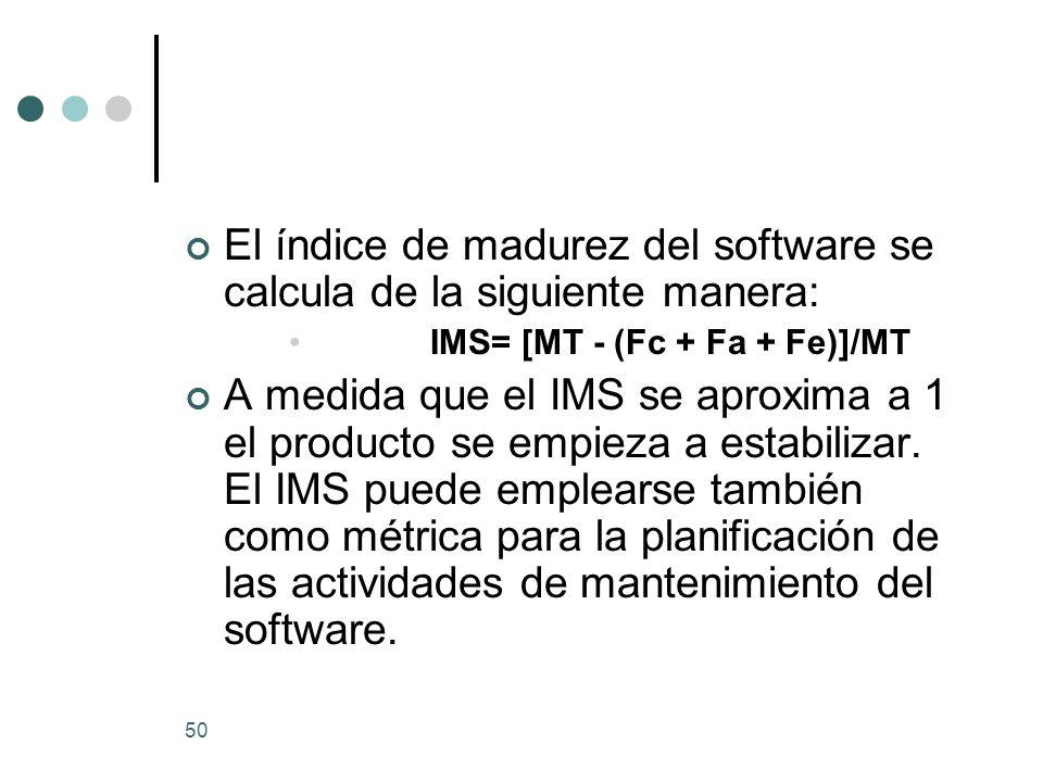El índice de madurez del software se calcula de la siguiente manera: